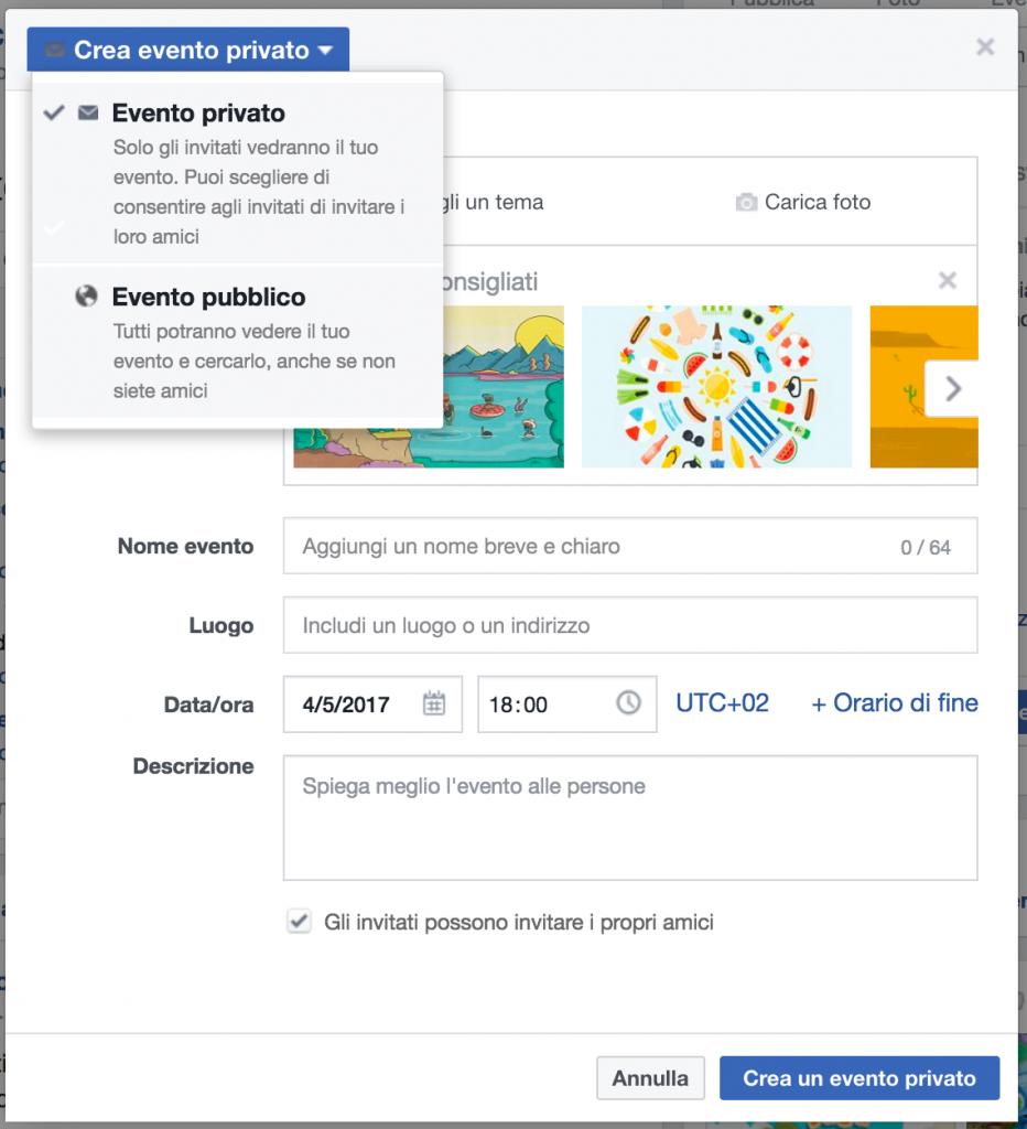 impostazioni privacy per eventi social