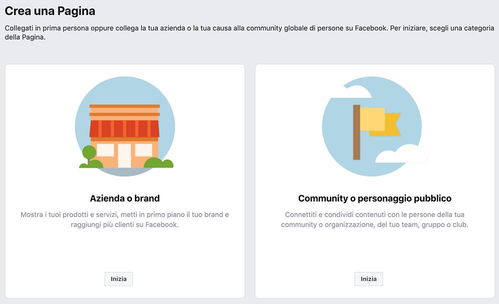 Come creare una pagina Facebook aziendale: scegli il tipo di pagina che vuoi creare