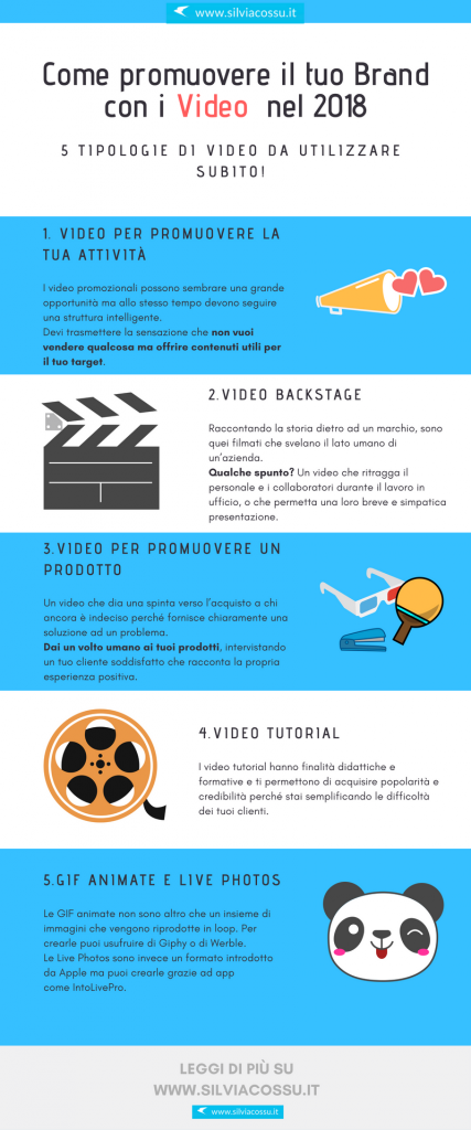 5 tipi di video per promuovere il tuo brand e il tuo business nel 2018: dai video prodotto ai video tutorial, tanti spunti per ispirarti!