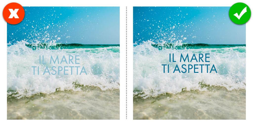 Come creare la grafica per i Social Media: l'utilizzo di un font con colori di contrasto rispetto allo sfondo è una buona regola