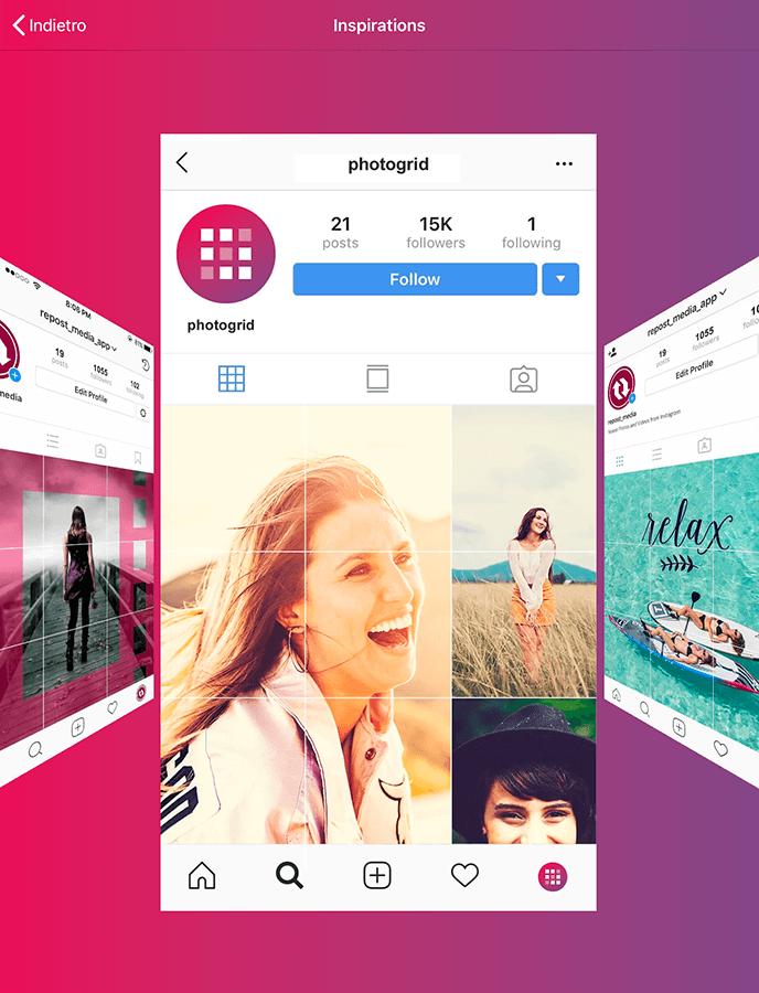 Photo Grid è una app per Instagram che ti permette di creare mosaici e griglie nel tuo feed.